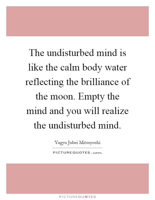 The undisturbed mind is like the calm body water reflecting the brilliance of the moon. Empty the mind and you will realize the undisturbed mind Picture Quote #1