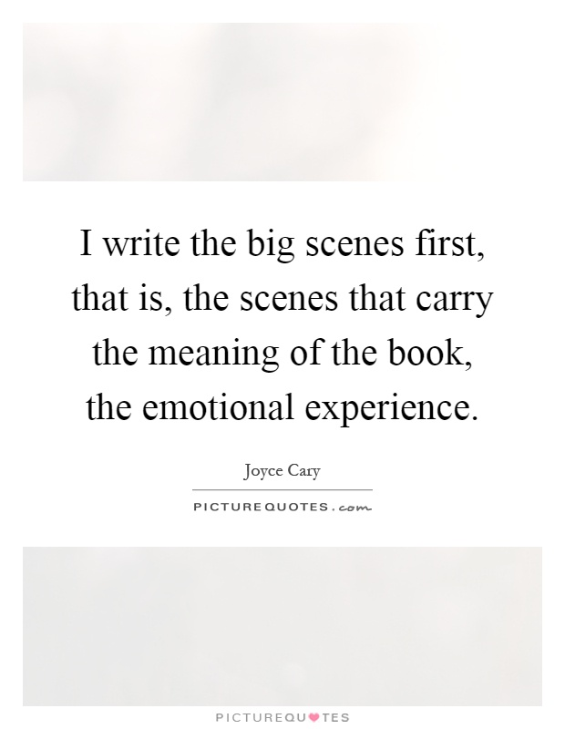 I write the big scenes first, that is, the scenes that carry the meaning of the book, the emotional experience Picture Quote #1