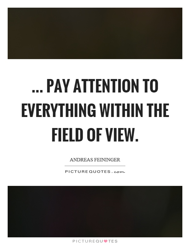 ... pay attention to everything within the field of view Picture Quote #1
