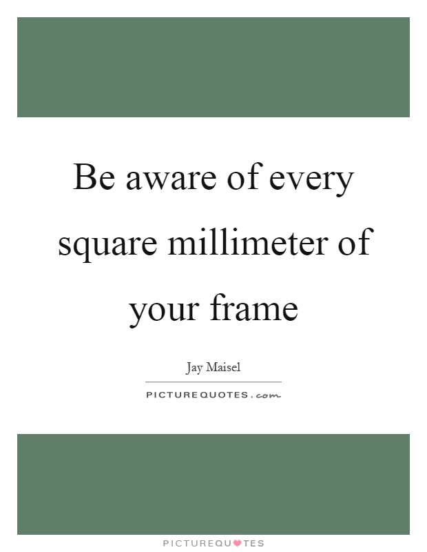 Be aware of every square millimeter of your frame Picture Quote #1