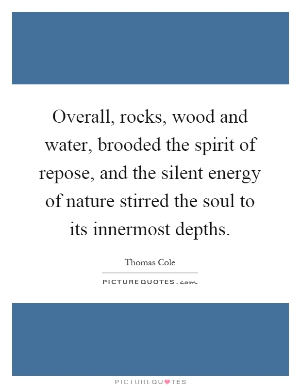Overall, rocks, wood and water, brooded the spirit of repose, and the silent energy of nature stirred the soul to its innermost depths Picture Quote #1
