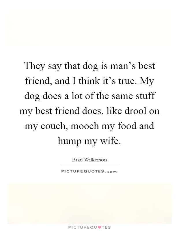 They say that dog is man's best friend, and I think it's true. My dog does a lot of the same stuff my best friend does, like drool on my couch, mooch my food and hump my wife Picture Quote #1