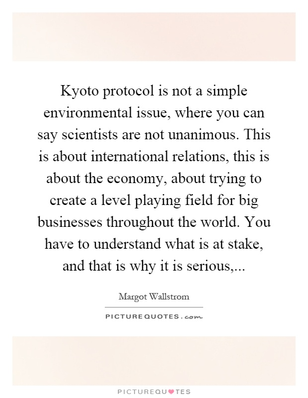 Kyoto protocol is not a simple environmental issue, where you can say scientists are not unanimous. This is about international relations, this is about the economy, about trying to create a level playing field for big businesses throughout the world. You have to understand what is at stake, and that is why it is serious, Picture Quote #1