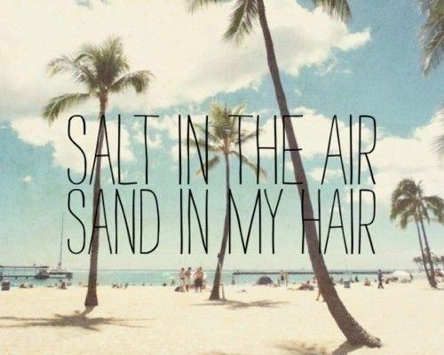 Salt in the air. Sand in my hair Picture Quote #1
