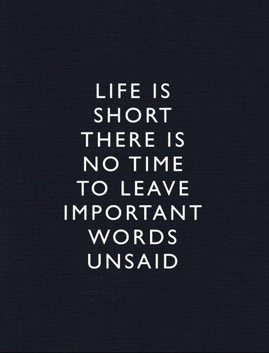 Life Is Short There No Time To Leave Important Words Unsaid Picture Quote