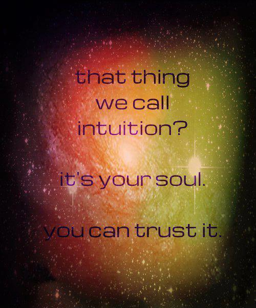 That thing we call intuition. It's your soul. You can trust it Picture Quote #1