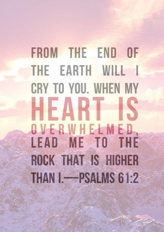 From the end of the Earth I will cry to you, When my heart is overwhelmed, lead me to the rock that is higher than i Picture Quote #1