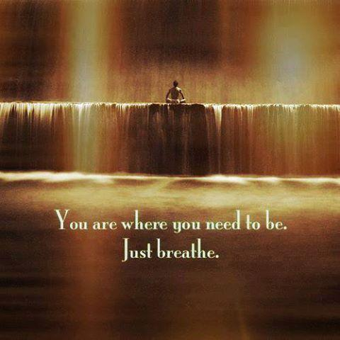 You are where you need to be. Just breathe Picture Quote #1