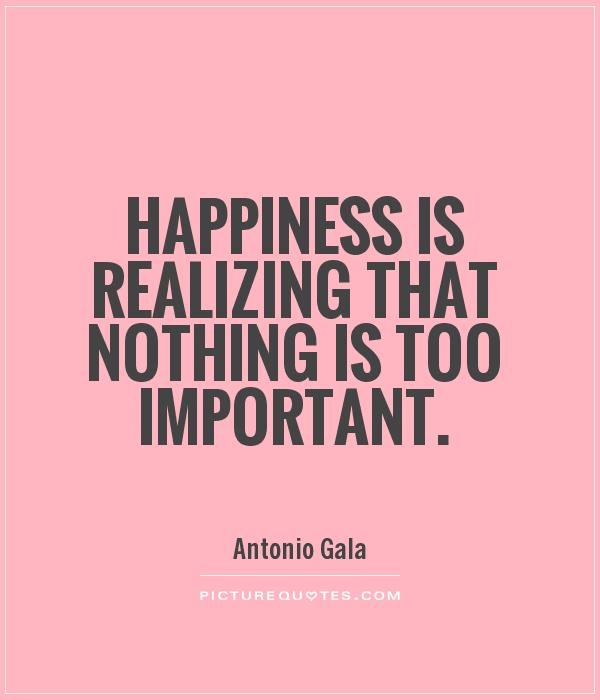 Happiness is realizing that nothing is too important Picture Quote #1