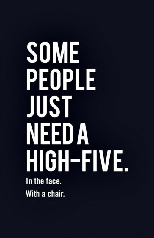 Some people just need a high-five, in the face, with a chair Picture Quote #1