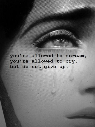 You're allowed to scream, you're allowed to cry, but do not give up Picture Quote #1