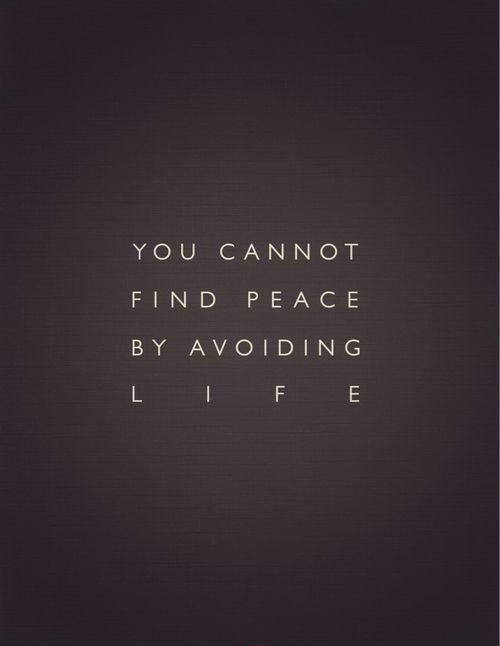 You cannot find peace by avoiding life Picture Quote #2