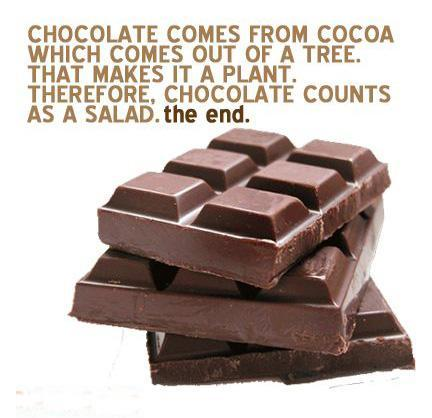 Chocolate comes from cocoa, which comes out of a tree. That makes it a Plant. Therefore, chocolate counts as a salad. The End Picture Quote #1