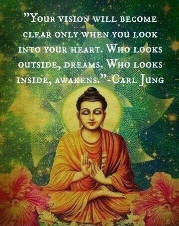 Your vision will become clear only when you can look into your own heart. Who looks outside, dreams; who looks inside, awakes Picture Quote #1