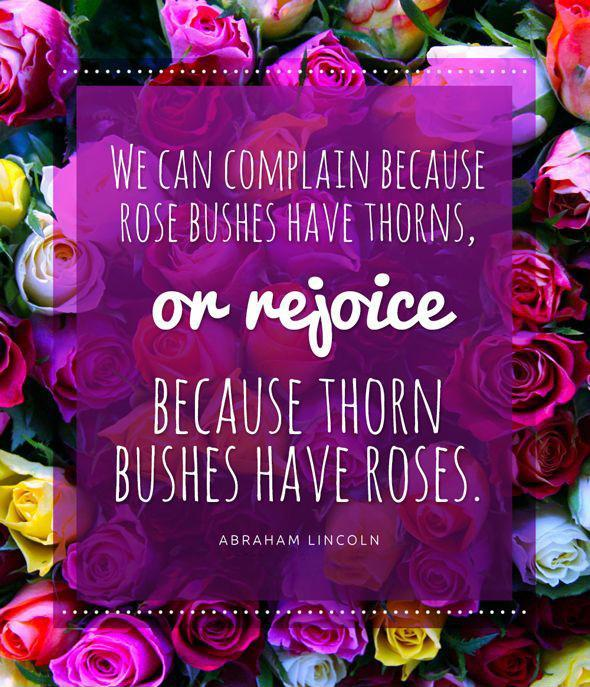 We can complain because rose bushes have thorns, or rejoice because thorn bushes have roses Picture Quote #1