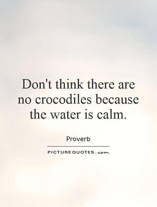 Don't think there are no crocodiles because the water is calm Picture Quote #1