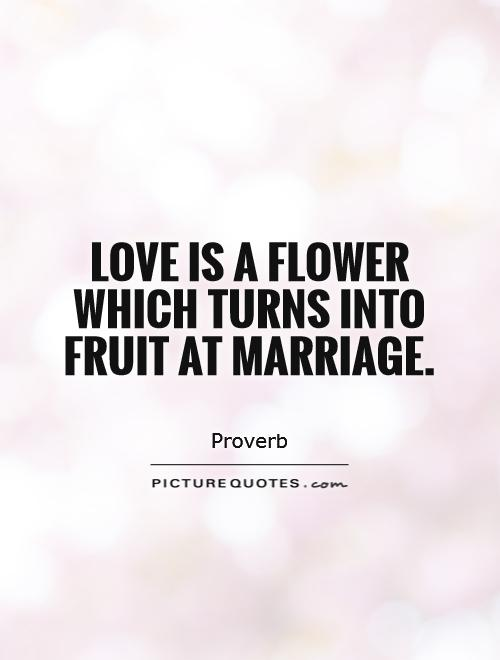 Love is a flower which turns into fruit at marriage Picture Quote #1