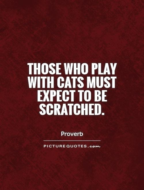 Those who play with cats must expect to be scratched Picture Quote #1