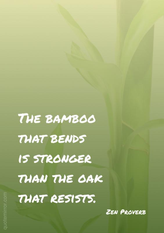 The bamboo that bends is stronger than the oak that resists Picture Quote #1