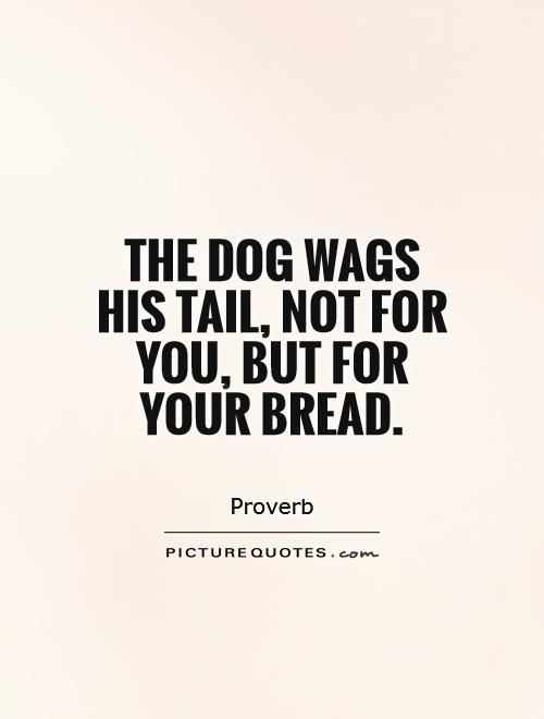 The dog wags his tail, not for you, but for your bread Picture Quote #1
