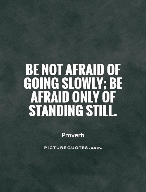 Be not afraid of going slowly; be afraid only of standing still Picture Quote #1