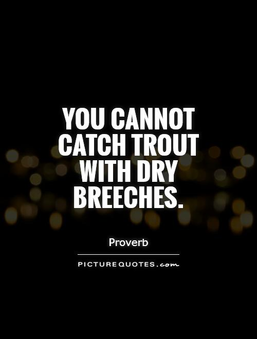You cannot catch trout with dry breeches Picture Quote #1