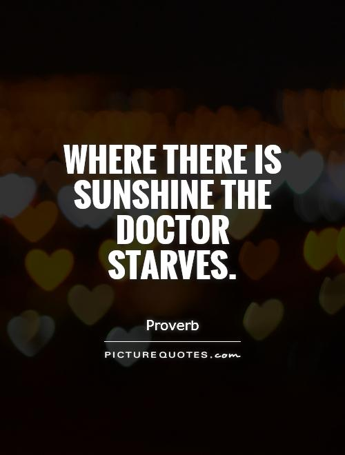 Where there is sunshine the doctor starves Picture Quote #1