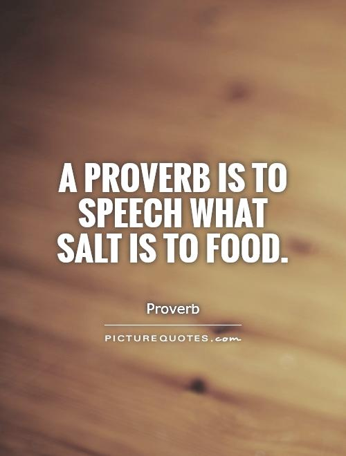 A proverb is to speech what salt is to food Picture Quote #1