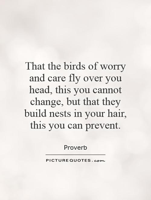 That the birds of worry and care fly over you head, this you cannot change, but that they build nests in your hair, this you can prevent Picture Quote #1