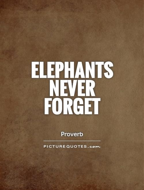 Elephants never forget Picture Quote #1