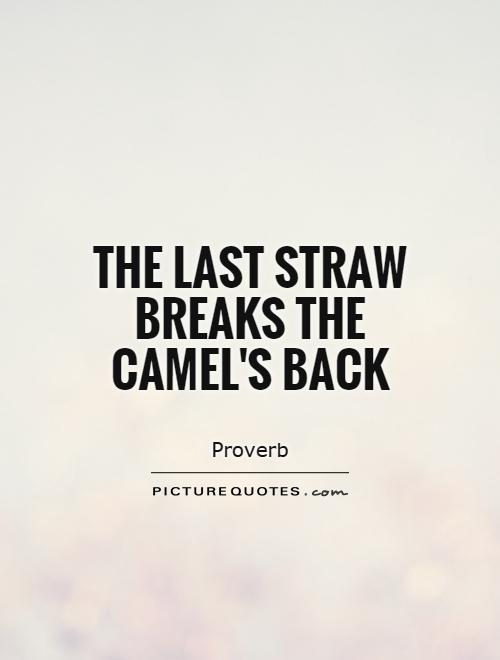 The last straw breaks the camel's back Picture Quote #1