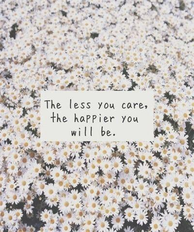 The less you care, the happier you will be Picture Quote #1