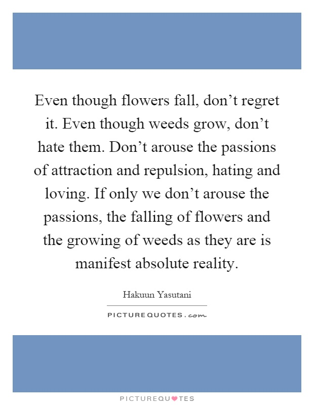 Even though flowers fall, don't regret it. Even though weeds grow, don't hate them. Don't arouse the passions of attraction and repulsion, hating and loving. If only we don't arouse the passions, the falling of flowers and the growing of weeds as they are is manifest absolute reality Picture Quote #1