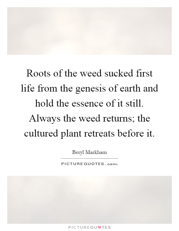 Roots of the weed sucked first life from the genesis of earth and hold the essence of it still. Always the weed returns; the cultured plant retreats before it Picture Quote #1