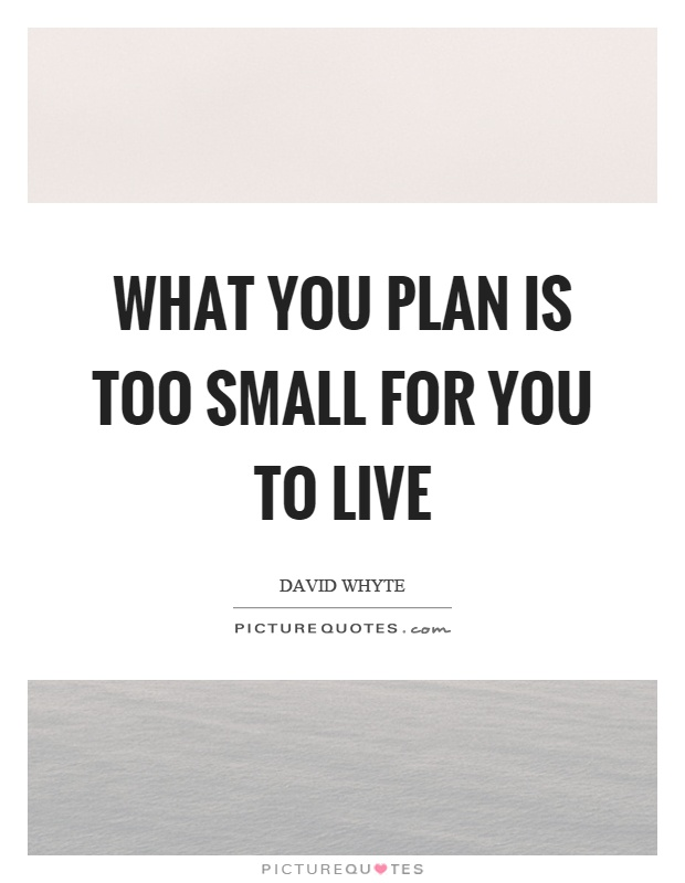 What you plan is too small for you to live Picture Quote #1