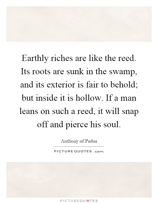 Perfect Earthly Riches Are Like The Reed. Its Roots Are Sunk In The Swamp, And