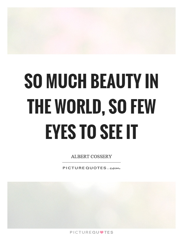 So much beauty in the world, so few eyes to see it Picture Quote #1