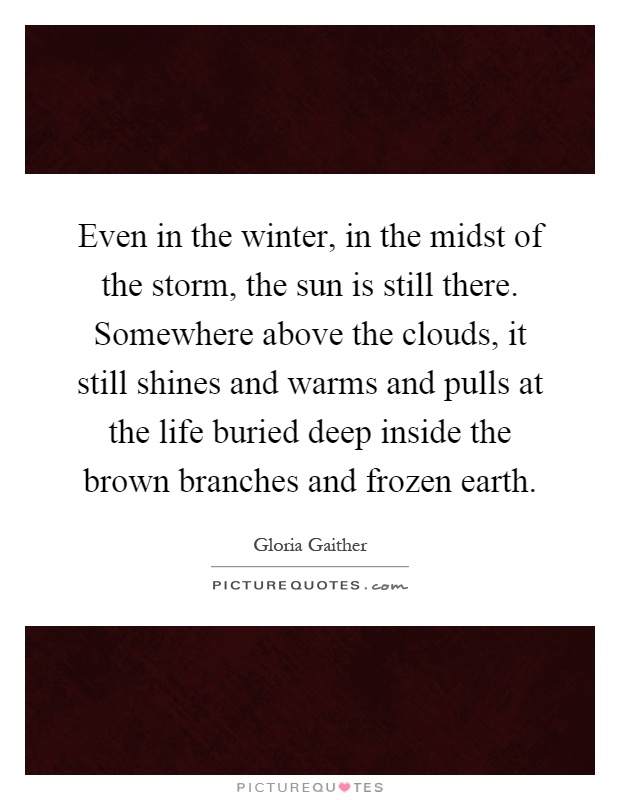 Even in the winter, in the midst of the storm, the sun is still there. Somewhere above the clouds, it still shines and warms and pulls at the life buried deep inside the brown branches and frozen earth Picture Quote #1