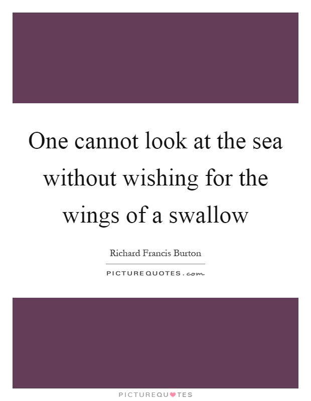 One cannot look at the sea without wishing for the wings of a swallow Picture Quote #1