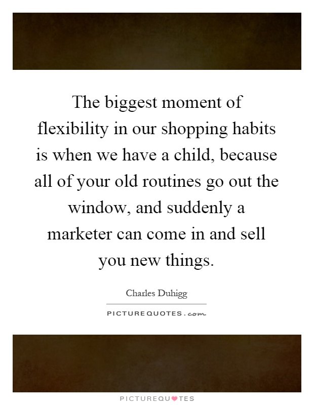 The biggest moment of flexibility in our shopping habits is when we have a child, because all of your old routines go out the window, and suddenly a marketer can come in and sell you new things Picture Quote #1