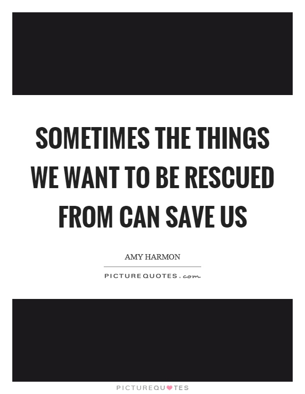 Sometimes the things we want to be rescued from can save us Picture Quote #1