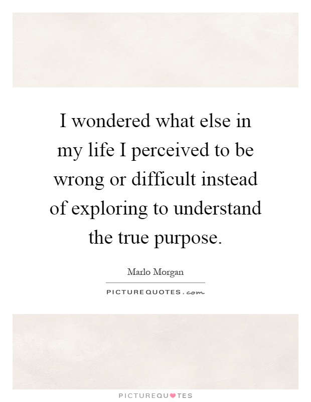 I wondered what else in my life I perceived to be wrong or difficult instead of exploring to understand the true purpose Picture Quote #1