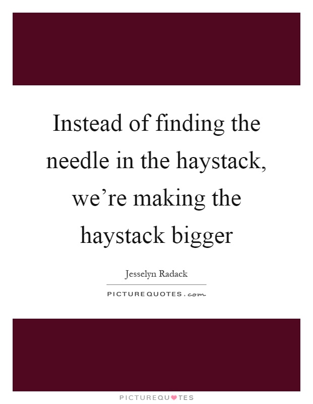 Instead of finding the needle in the haystack, we're making the haystack bigger Picture Quote #1