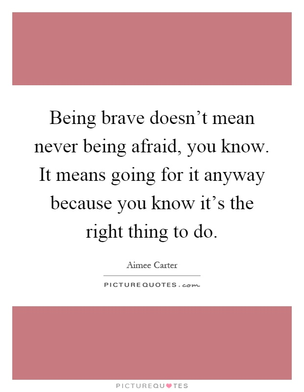Being brave doesn't mean never being afraid, you know. It means going for it anyway because you know it's the right thing to do Picture Quote #1