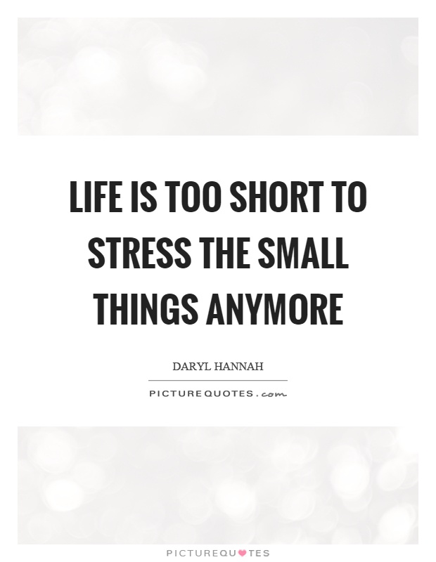 Life is too short to stress the small things anymore Picture Quote #1