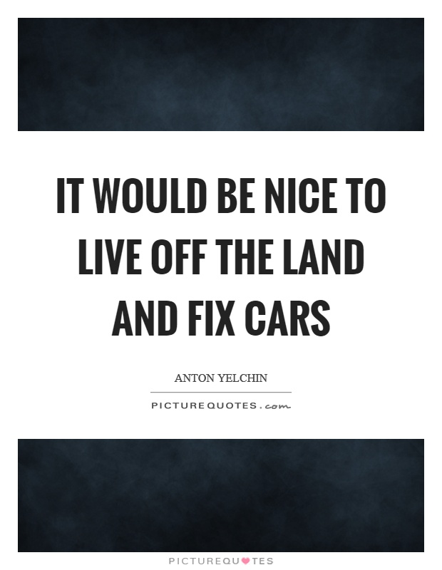 It would be nice to live off the land and fix cars Picture Quote #1