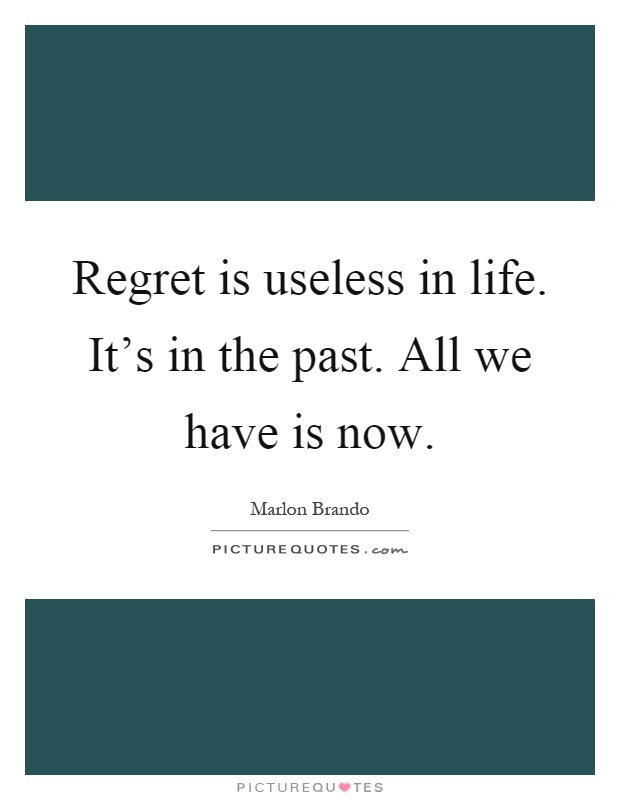 Regret is useless in life. It's in the past. All we have is now Picture Quote #1