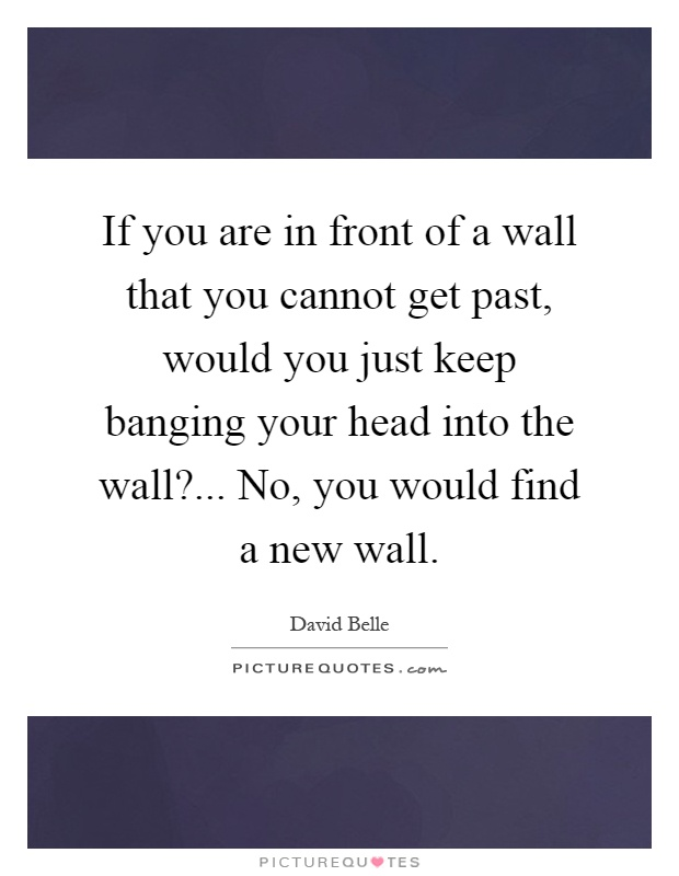 If you are in front of a wall that you cannot get past, would you just keep banging your head into the wall?... No, you would find a new wall Picture Quote #1