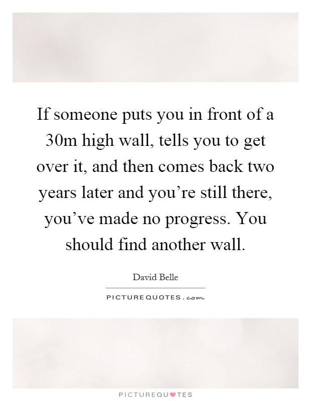 If someone puts you in front of a 30m high wall, tells you to get over it, and then comes back two years later and you're still there, you've made no progress. You should find another wall Picture Quote #1