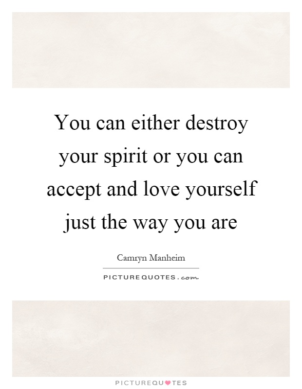 You can either destroy your spirit or you can accept and love yourself just the way you are Picture Quote #1
